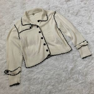 One Girl Who White Knit Button Up Collared Sweater